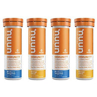Nuun Immunity: Immune Support Hydration Supplement, Electrolytes, Antioxidants, Vitamin C, Zinc, Turmeric, Elderberry, Ginger, Echinacea - Blueberry Tangerine + Orange Citrus - 4 Tubes (40 Servings)