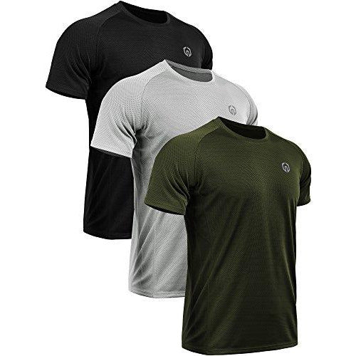 Neleus Men's 3 Pack Mesh Athletic Running T Shirt,5033,Black,Grey,Olive Green,US M,EU L