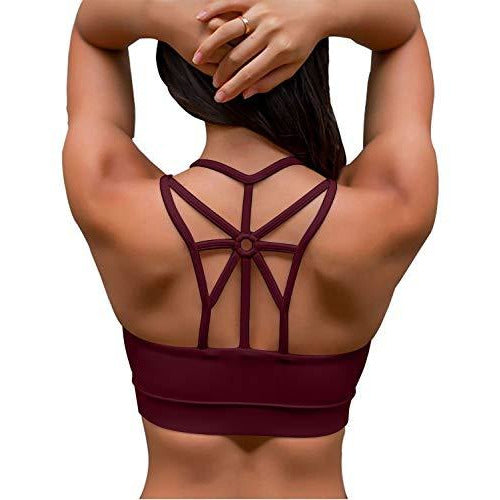 YIANNA Sports Bras for Women Cross Back Padded Sports Bra Medium Support Wirefree Strappy Workout Activewear Running Yoga Bra Red,YA-BRA139-Red-M