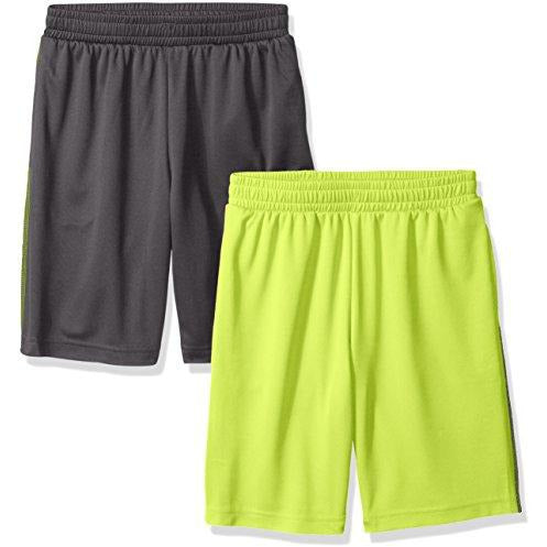 Amazon Essentials Boys Active Performance Mesh Basketball Shorts, 2-Pack Grey/Lime, Small