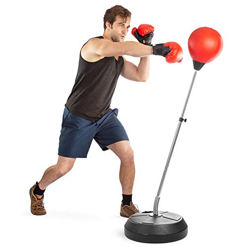 Boxing Ball Set with Punching Bag, Boxing Gloves, Hand Pump & Adjustable Height Stand - Strong Durable Spring Withstands Tough Hits for Stress Relief & Fitness by Tech Tools (Adult)
