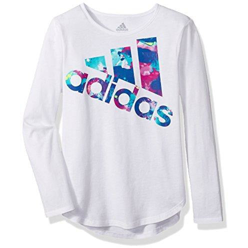 adidas Girls' Little Long Sleeve Logo Tee, White Multi, 6X