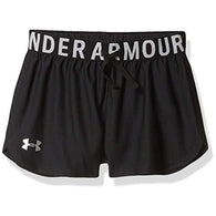 Under Armour Girls' Play Up Solid Workout Gym Shorts , Black (001)/Metallic Silver , Youth Medium