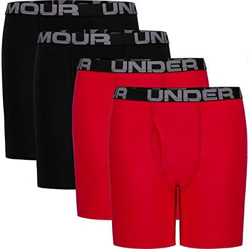 Under Armour Boys' Big Charged Cotton Stretch Boxer Jock, Red, YLG