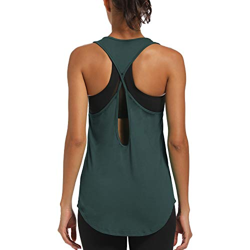 CNJUYEE Yoga Tops for Women Activewear Workout Tank Tops Athletic Women's Sleeveless Tops Open Back Running Sports Shirts Grey