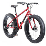 Mongoose Dolomite Mens Fat Tire Mountain Bike, 26-inch Wheels, 4-Inch Wide Knobby Tires, 7-Speed, Steel Frame, Front and Rear Brakes, Red