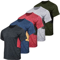 Men's Quick Dry Fit Dri-Fit Short Sleeve Active Wear Training Athletic Essentials Crew T-Shirt Fitness Gym Wicking Tee Workout Casual Sports Running Undershirt Top - 5 Pack,Set 5-S