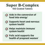 Vitamin B Complex by Nature's Bounty, Super B Complex Vitamins w/ Vitamin C for Immune Support & Folic Acid, 150 Tablets