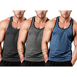 COOFANDY Men's 3 Pack Gym Tank Tops Y-Back Workout Muscle Tee Sleeveless Fitness Bodybuilding T Shirts (Black/Blue/Dark Grey, Large)