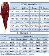 Fixmatti Women Two Piece Tracksuit Active Hooded Top Bottom Sweatpants Set Red L