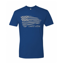 COMPETE Nation Patriot Men's Royal Blue Short Sleeve Shirt Front