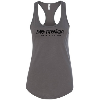 COMPETE Nation COMPETE Earn Everything Women's Charcoal Racerback Tank Front