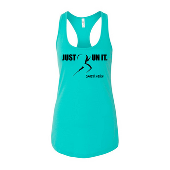 COMPETE Nation Just Run It Women's Tahiti Blue Racerback Tank Front