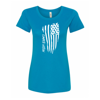 COMPETE Nation Patriot Style Women's Turquoise Short Sleeve Shirt Front