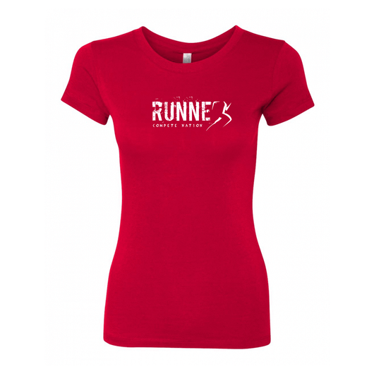 COMPETE Nation Runner Women's Red Short Sleeve Shirt Front