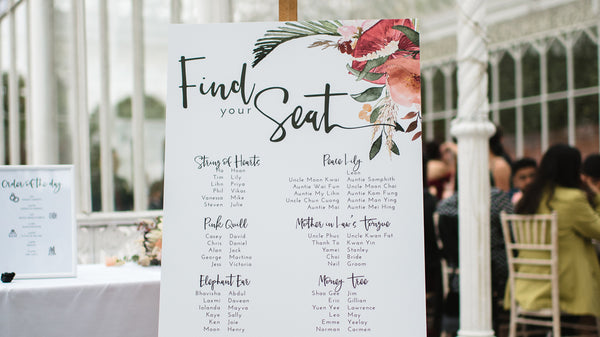Modern wedding table plan with flowers and foliage