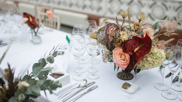 Table settings with anthurium