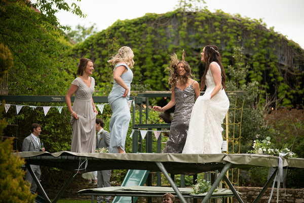 Bridal Party on Trampoline
