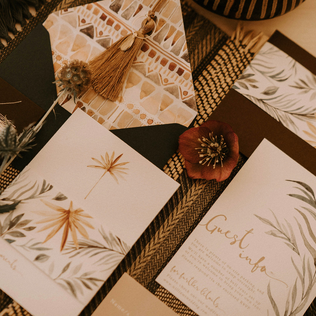 Modern Boho Wedding Invitations with Moroccan Tile Print and Palm Leaves