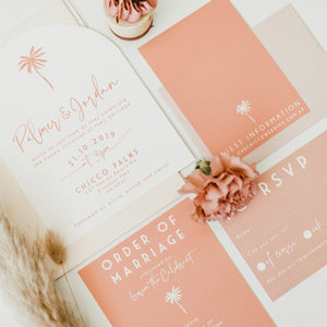 Bespoke wedding stationery with arch shape invite and and line illustrations