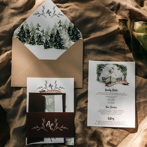 Bespoke wedding stationery with forest scenes, tipi watercolour illutsration and couple monogram
