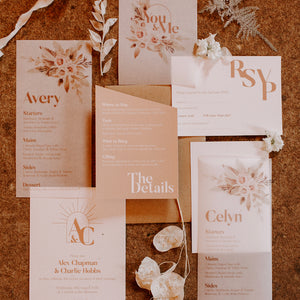 Chic and modern Ethereal Love stationery suite.