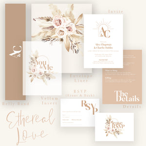 Chic and modern Ethereal Love stationery suite. Inclusions all pictured.