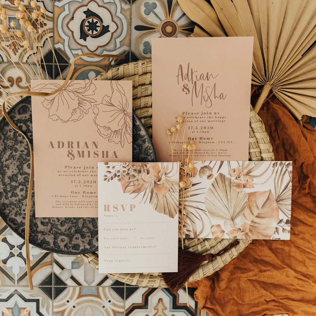 Modern Wedding Stationery with Watercolour Dried Flowers and Modern Fonts