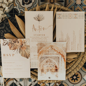 Modern Wedding Stationery with Watercolour Dried Flowers and Modern Fonts. Moroccan Tile Print Illustrations