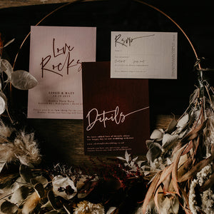 Boho Wedding Invites with Love Rocks Slogan and Dried/Fresh Flower Watercolour Wreaths