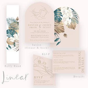 Modern Curve Wedding Invitations with Line Art and Watercolour Florals
