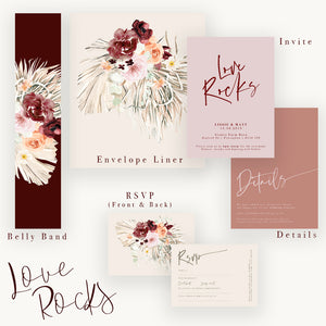 Boho Wedding Invites with Love Rocks Slogan and Dried/Fresh Flower Watercolour Wreaths. Full Love Rocks suite