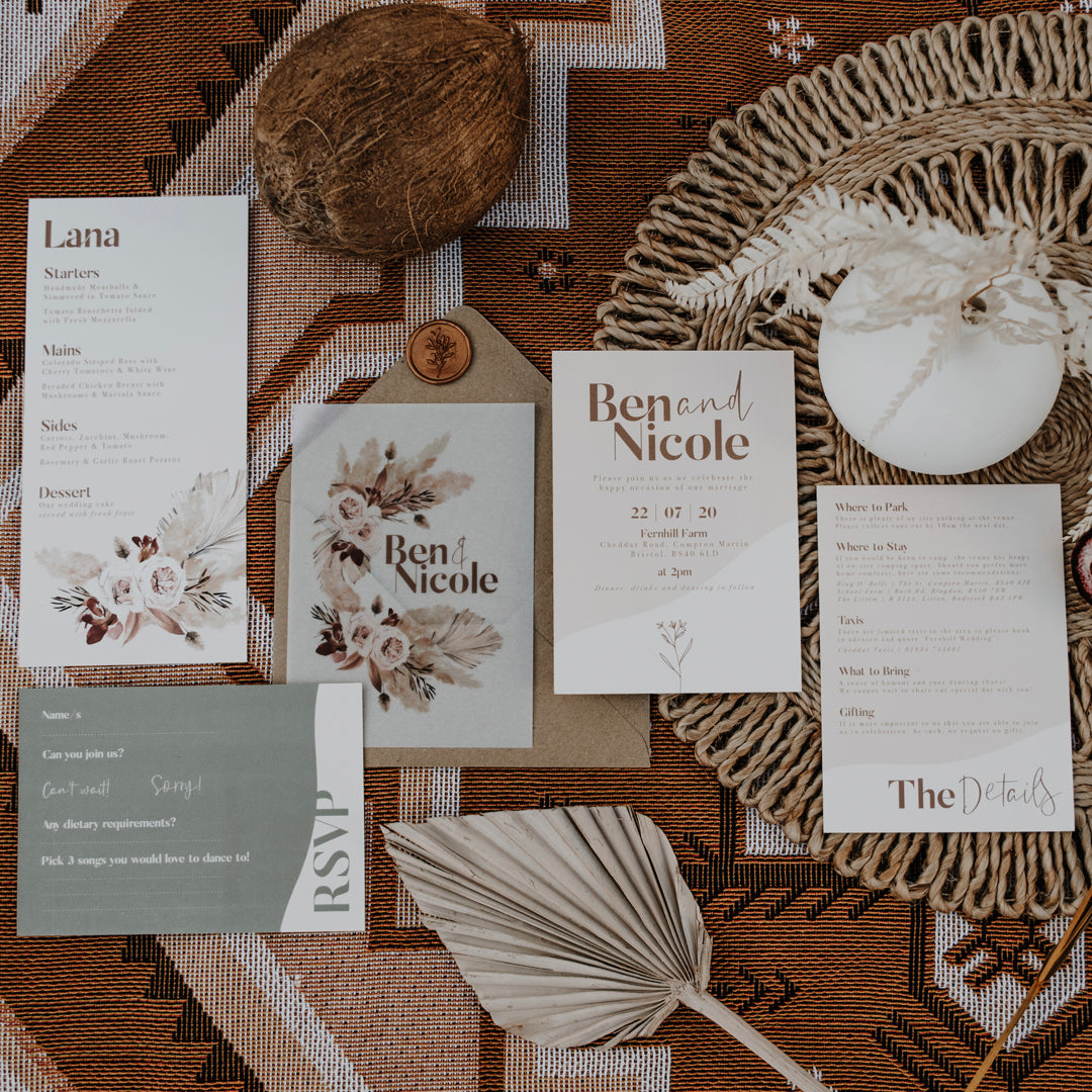Flatlay of Sage Sand with Invite, Details Card, Vellum Insert and RSVP
