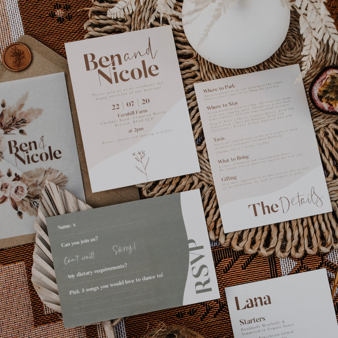 Flatlay of the Sage Sand suite showing the cards in more detail.