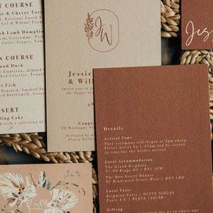Modern Wedding Stationery with Tan and Cream Colours, and Modern Watercolour Floral Wreaths