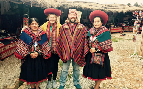 Trying on the traditional clothes from Chinchero