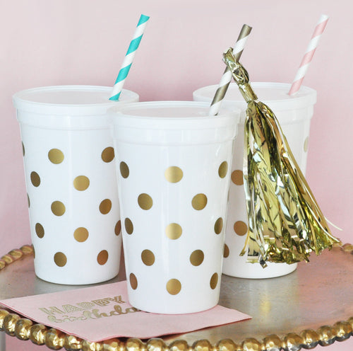 White & Gold Polka Dot Party Cups w/ Lids  (Set of 10)