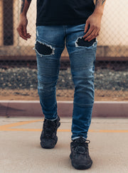Destroyed Biker Jeans V1 in Blue