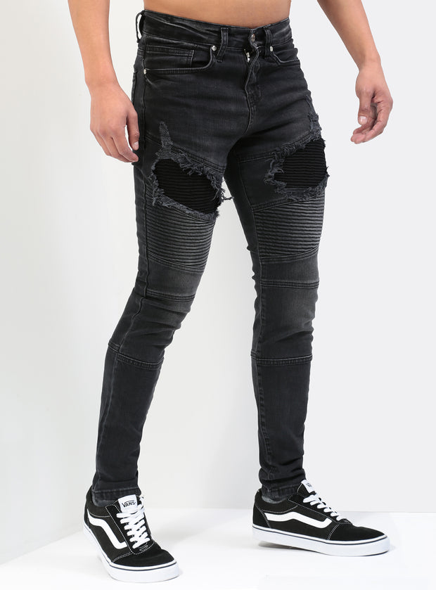 Destroyed Biker Jeans V1 in Black
