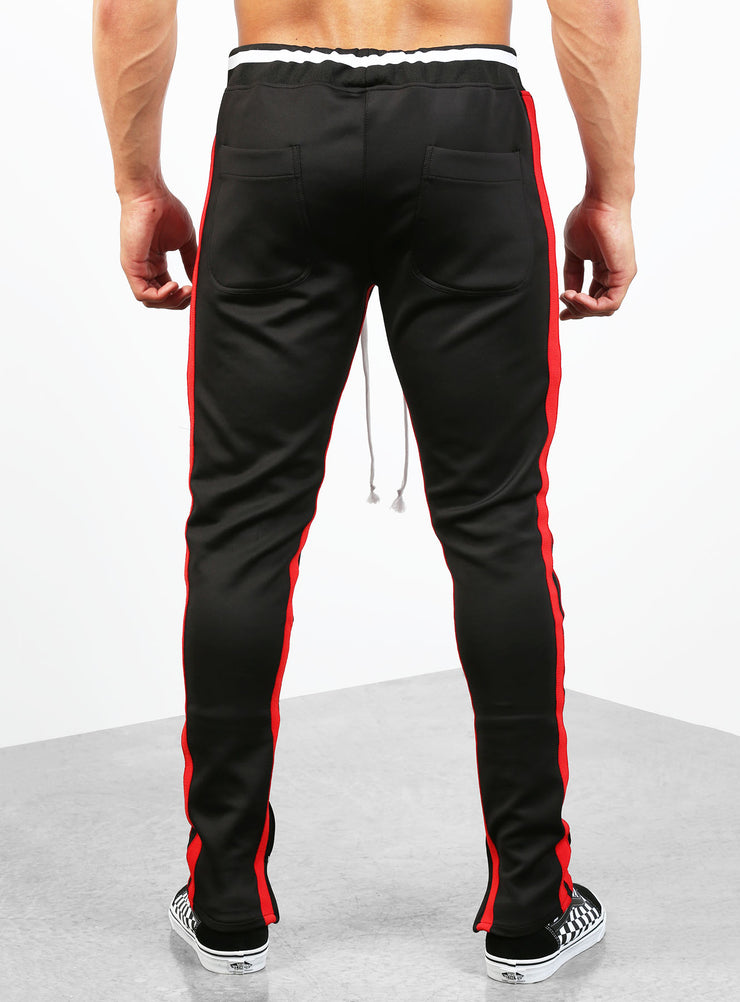 Double Striped Track Pants V2 in Black and Red