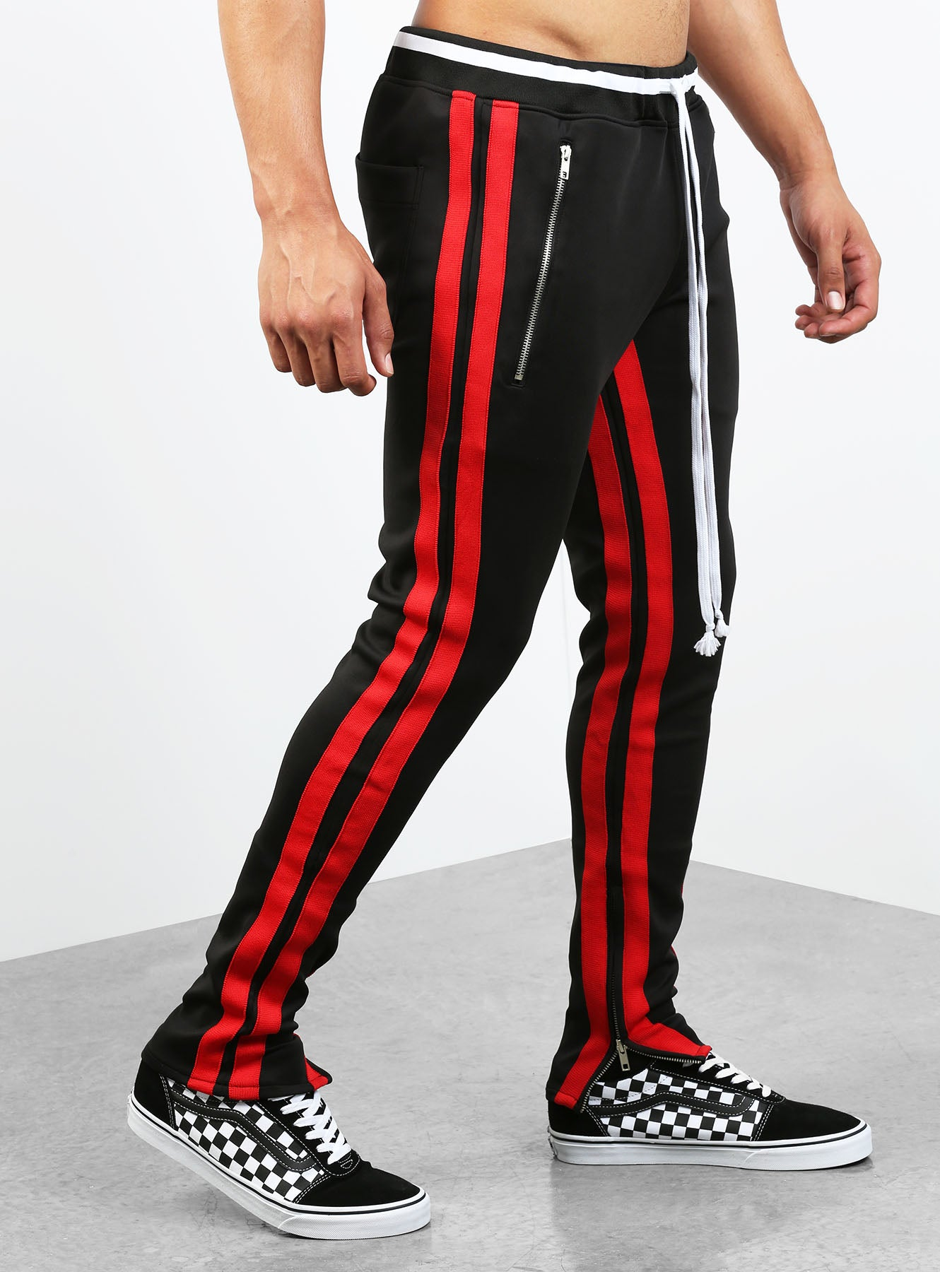 8f71c0a2a0ce83 Double Striped Track Pants V2 in Black and Red | HOODSTORE | HOODSTORE