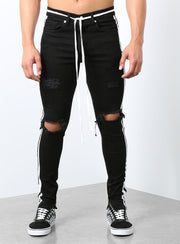 Double Striped Track Jeans V2 in Black and White