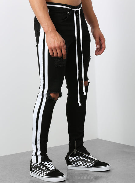 Camolteni Double Striped Track Jeans in Black