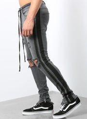Double Striped Track Jeans in Dark Grey and Black