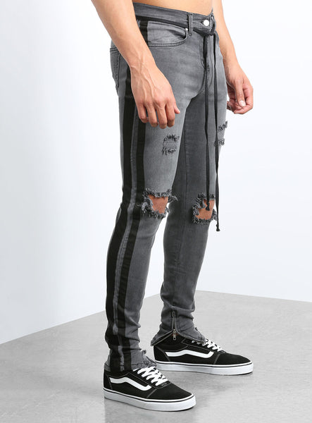 Camolteni Double Striped Track Jeans in Dark Grey