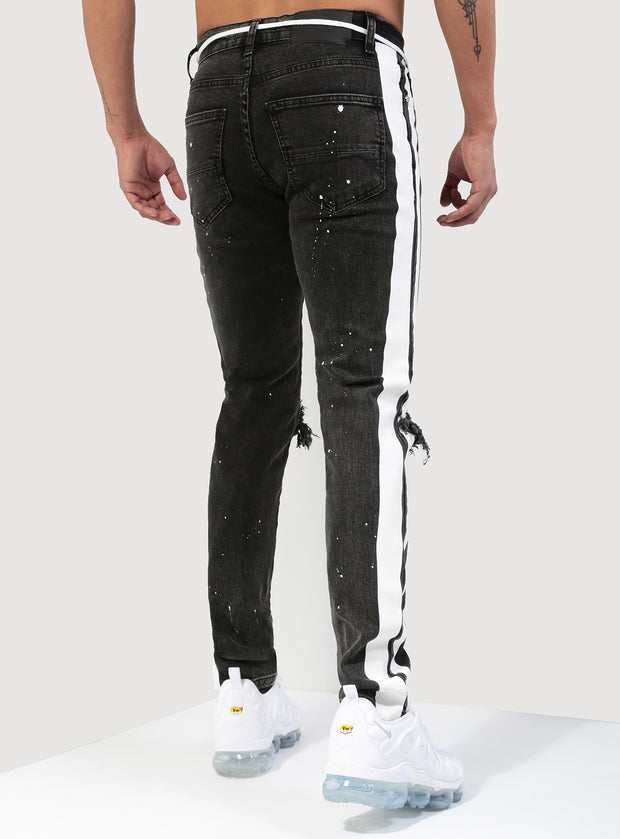 Double Striped Track Jeans V3 in Acid Black and White
