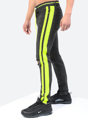 Double Striped Track Jeans V3 in Neon Yellow
