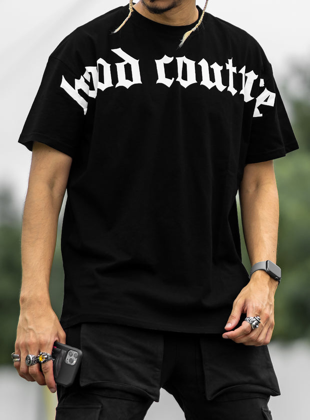 Hood Couture Oversized Logo T-shirt in Black
