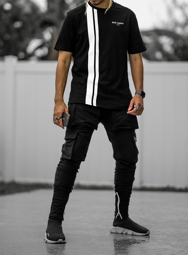 Hood Couture Striped T-shirt in Black