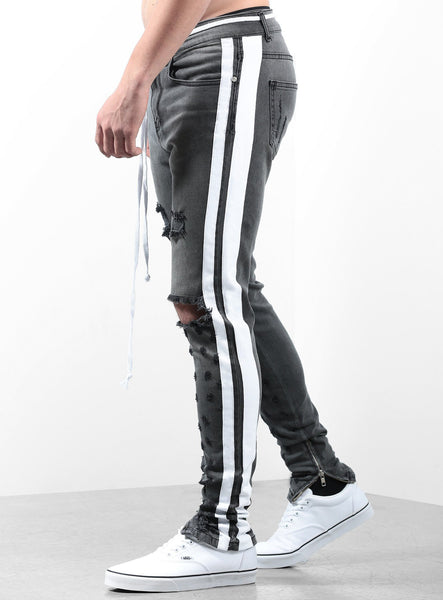 Double Striped Track Jeans V2 in Dark Grey